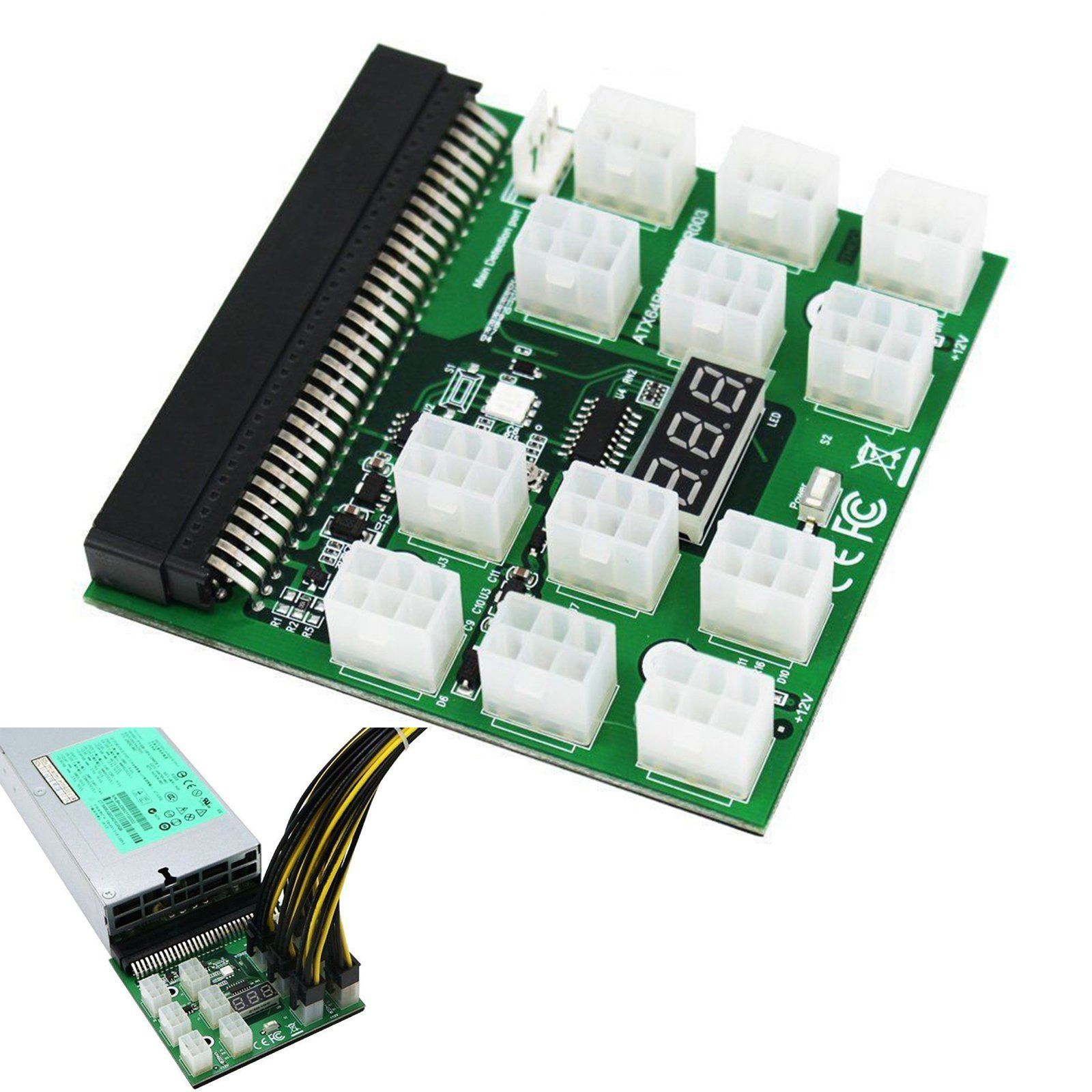 6 Pin Power Breakout Board for HP PSU GPU Mining Ethereum ZEC ZC